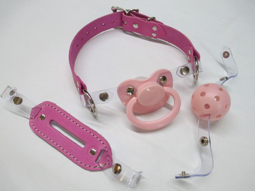 Barbie Pink Leather AB/DL Large Shield Pacifier/breathable ball gag and insert gag interchangeable front Pacigag,